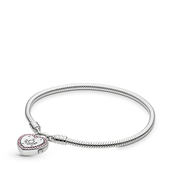 PANDORA Moments Armband Lock Your Promise, Armband uit Sterling zilver, Zirkonia, Roze, 596586FPC-20