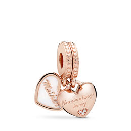 Mother & Daughter Hearts Charm, PANDORA Rose, Emaille, Silver, Kubisch zirkonia - PANDORA - #782072EN23