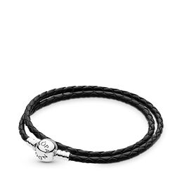 Moments Double Woven Leather Bracelet, Black, Sterling zilver, Leer, Zwart, Geen steen - PANDORA - #590745CBK-D