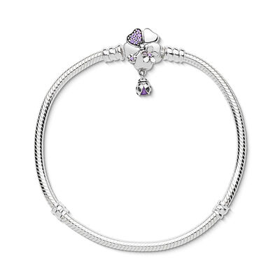 Wildflower Meadow Clasp Armband, Sterling zilver, Emaille, Paars, Gemengde stenen - PANDORA - #597124NLC
