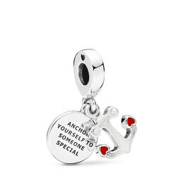 Anchor of Love Charm, Sterling zilver, Emaille, Rood, Kristal parel - PANDORA - #797208ENMX