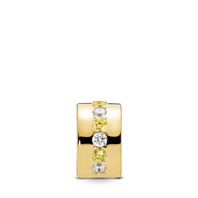 Shining Path Clip, 18k gold-plated sterlingzilver, Geen ander materiaal, Geel, Kubisch zirkonia - PANDORA - #767051CSY