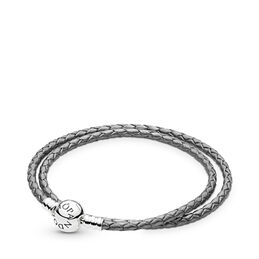 Moments Double Woven Leather Bracelet, Silver Grey, Sterling zilver, Leer, Grijs, Geen steen - PANDORA - #590745CSG-D
