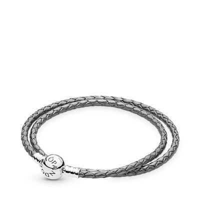 Moments Double Woven Leather Bracelet, Silver Grey