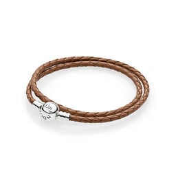 Moments Double Woven Leather Bracelet, Brown, Sterling zilver, Leer, Bruin, Geen steen - PANDORA - #590745CBN-D
