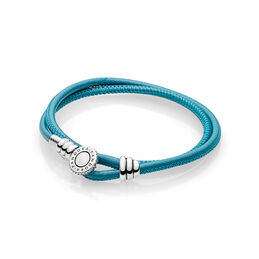 Moments Double Leather Armband, Turquoise, Sterling zilver, Leer, Turkoois, Kubisch zirkonia - PANDORA - #597194CTQ-D