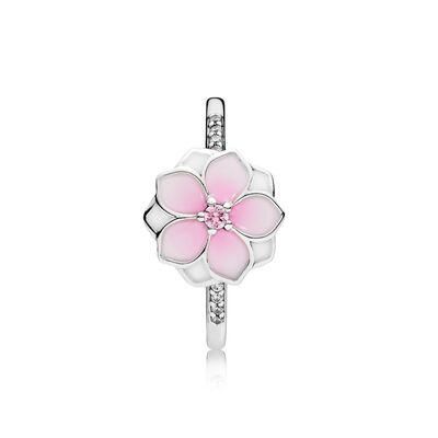 Ring roze magnolia, Sterling zilver, Emaille, Roze, Kubisch zirkonia - PANDORA - #191026PCZ