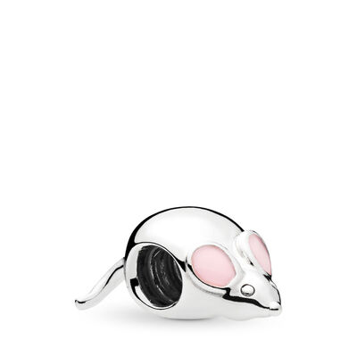 Cute Mouse Charm, Sterling zilver, Emaille, Roze, Geen steen - PANDORA - #797062EN160