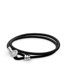 Moments Double Leather Armband, Black, Sterling zilver, Leer, Zwart, Kubisch zirkonia - PANDORA - #597194CBK-D