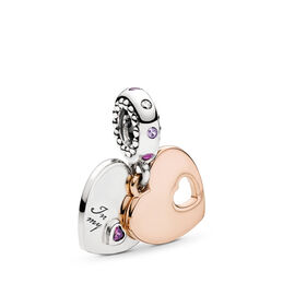 Part of My Heart Charm, PANDORA Rose with sterling silver, Geen ander materiaal, Roze, Gemengde stenen - PANDORA - #787235CFP