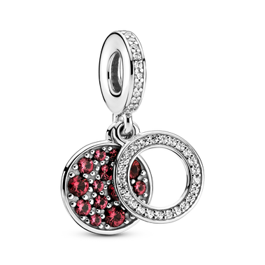 Sparkling Red Disc Double Dangle Charm