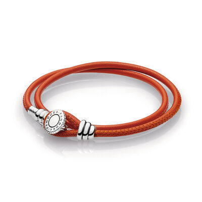 Moments Double Leather Armband, Spicy Orange, Sterling zilver, Leer, Oranje, Kubisch zirkonia - PANDORA - #597194CSO-D