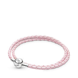 Moments Double Woven Leather Bracelet, Pink, Sterling zilver, Leer, Roze, Geen steen - PANDORA - #590745CMP-D