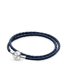 Moments Double Woven Leather Bracelet, Dark Blue, Sterling zilver, Leer, Blauw, Geen steen - PANDORA - #590745CDB-D