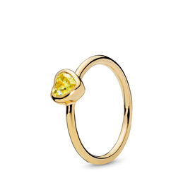 Radiant Heart Ring, 18k gold-plated sterlingzilver, Geen ander materiaal, Geel, Kubisch zirkonia - PANDORA - #167089CSY