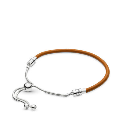 Moments Sliding Leather Armband, Golden tan