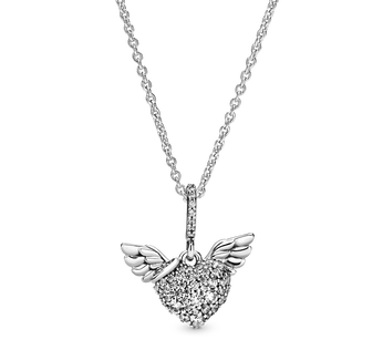 Pavé Heart and Angel Wings Halsketting