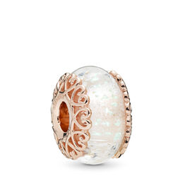 Iridescent White Glass Charm, PANDORA Rose, Glas, Wit, Geen steen - PANDORA - #787576