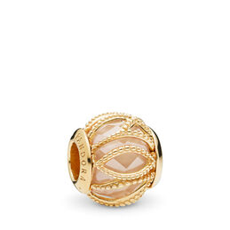 Golden Coloured Intertwining Radiance Charm, 18k gold-plated sterlingzilver, Geen ander materiaal, Gold, Kubisch zirkonia - PANDORA - #761968CCZ