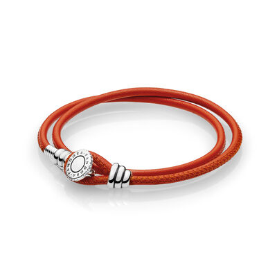 Moments Double Leather Armband, Spicy Orange