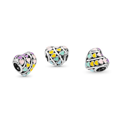 Multi-colour Hearts Charm, Sterling zilver, Emaille, Blauw, Geen steen - PANDORA - #797019ENMX