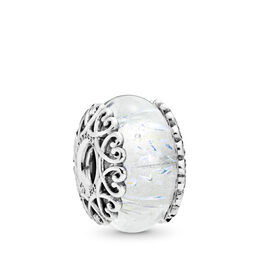 Iridescent White Glass Charm, Sterling zilver, Glas, Wit, Geen steen - PANDORA - #797617