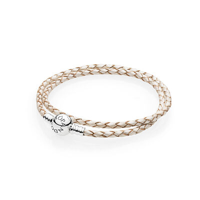 Moments Double Woven Leather Bracelet, White, Sterling zilver, Leer, Wit, Geen steen - PANDORA - #590745CPL-D