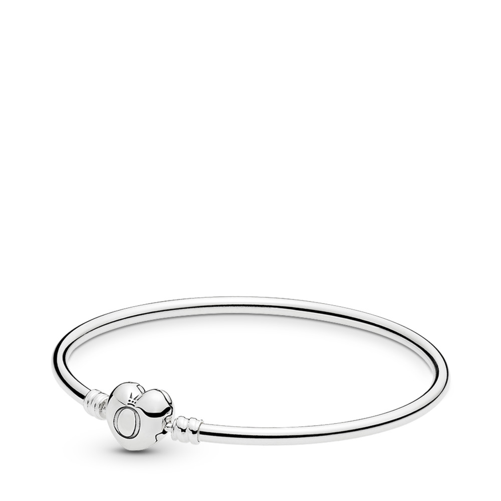 Moments- Zilveren Bangle met Hartensluiting