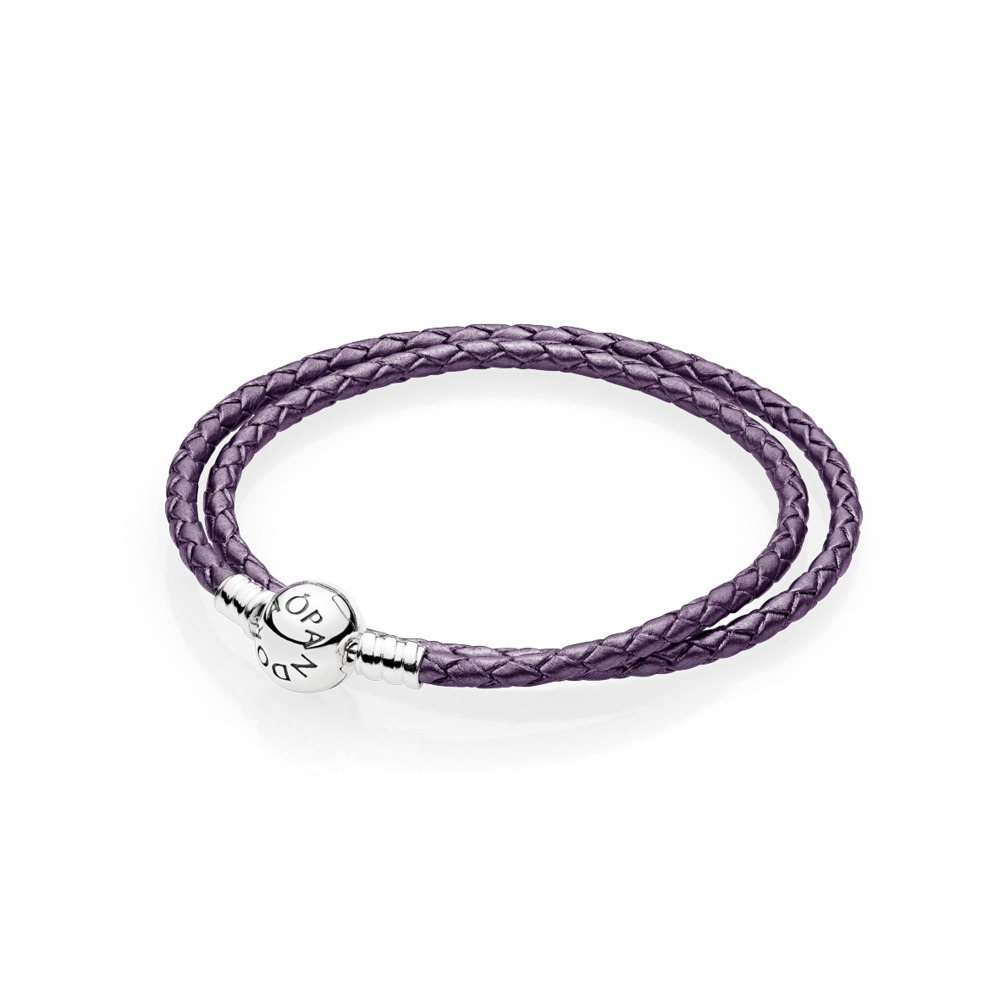 Moments Double Woven Leather Bracelet, Purple